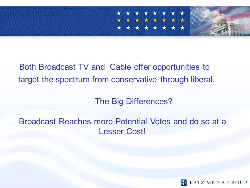 Both Broadcast TV and Cable offer opportunities to target the spectrum from conservative through liberal. The Big Differences? Broadcast Reaches more