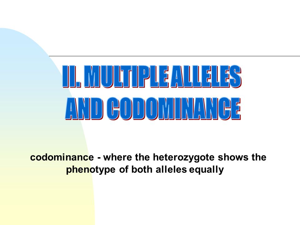 codominance - where the heterozygote shows the phenotype of both alleles equally
