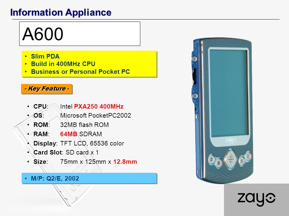 Information Appliance A600 CPU:Intel PXA250 400MHz OS:Microsoft PocketPC2002 ROM:32MB flash ROM RAM: 64MB SDRAM Display:TFT LCD, 65536 color Card Slot: SD card x 1 Size:75mm x 125mm x 12.8mm Slim PDA Build in 400MHz CPU Business or Personal Pocket PC Slim PDA Build in 400MHz CPU Business or Personal Pocket PC - Key Feature - M/P: Q2/E, 2002