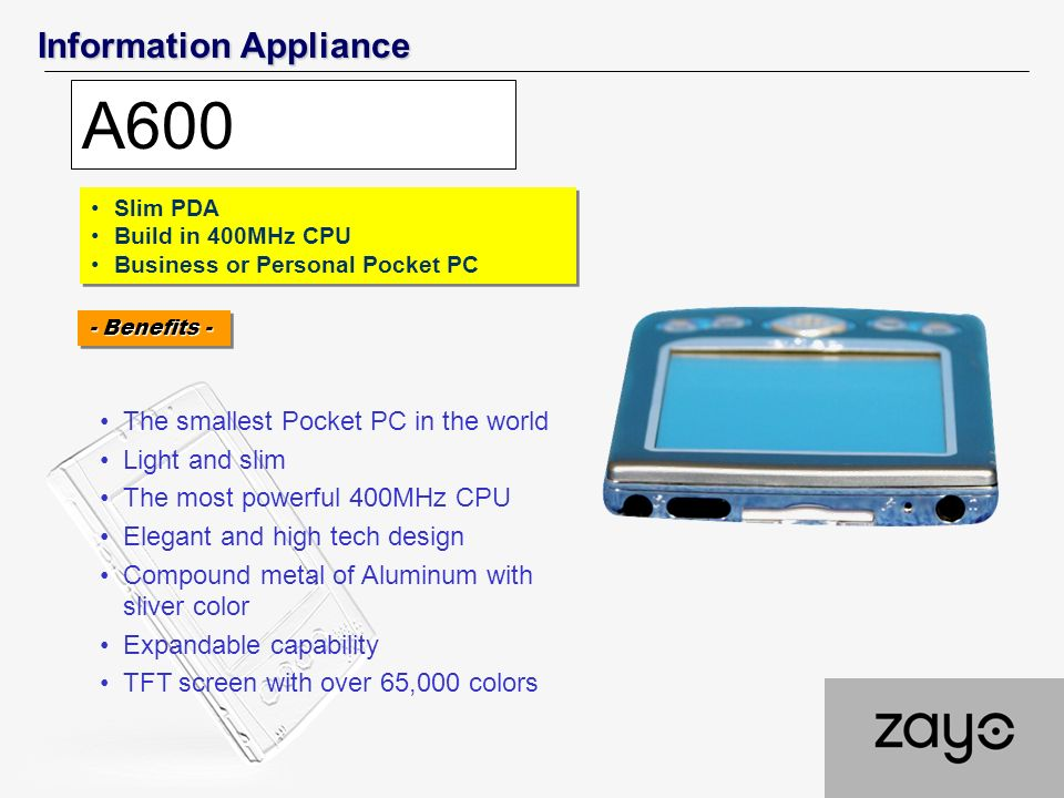 Information Appliance A600 Slim PDA Build in 400MHz CPU Business or Personal Pocket PC Slim PDA Build in 400MHz CPU Business or Personal Pocket PC The