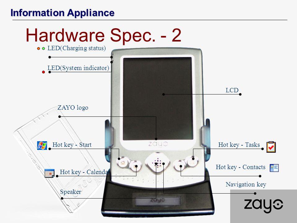 Information Appliance LCD Hot key - Contacts Hot key - Tasks Hot key - Calendar Hot key - Start ZAYO logo Speaker Navigation key LED(Charging status)