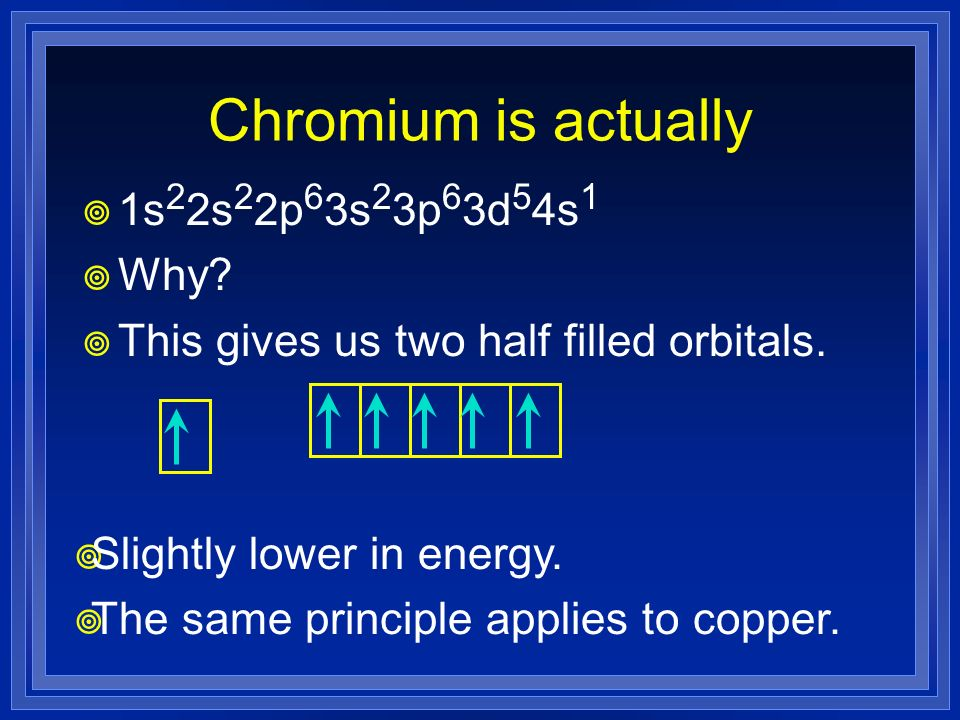 Chromium is actually 1s 2 2s 2 2p 6 3s 2 3p 6 3d 5 4s 1 Why? This gives us two half filled orbitals. Slightly lower in energy. The same principle appl