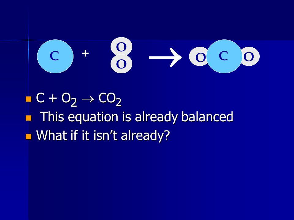 C + O 2 CO C + O 2 CO We need one more oxygen in the products.