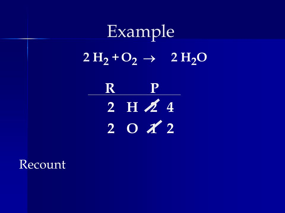 Example H 2 +H2OH2OO2O2 Recount RP H O 2 2 2 1 2 2 4 2