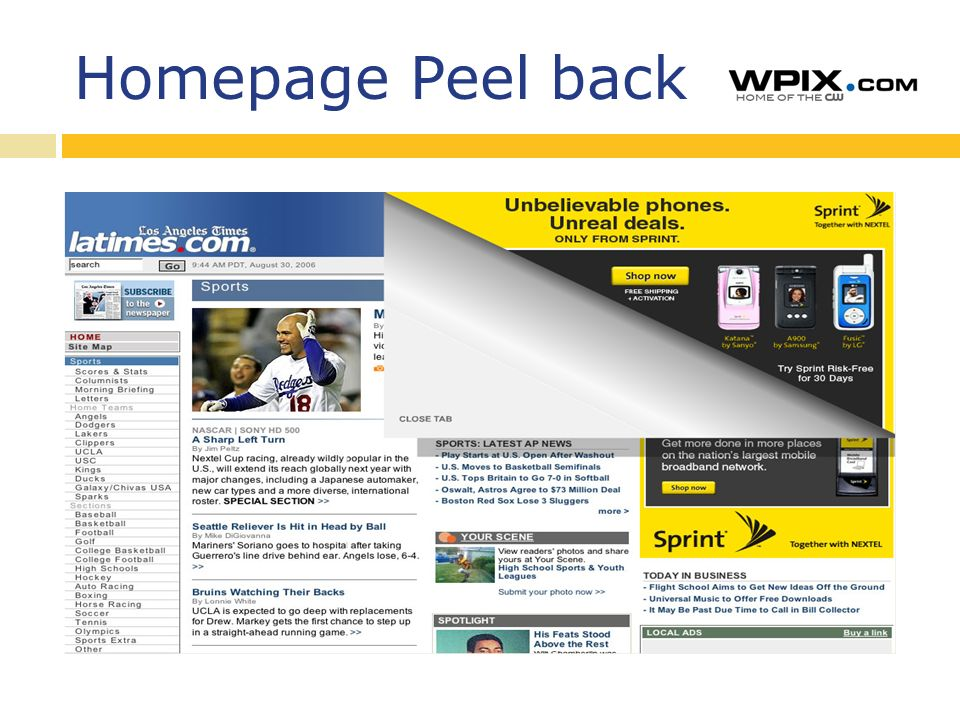 Homepage Peel back