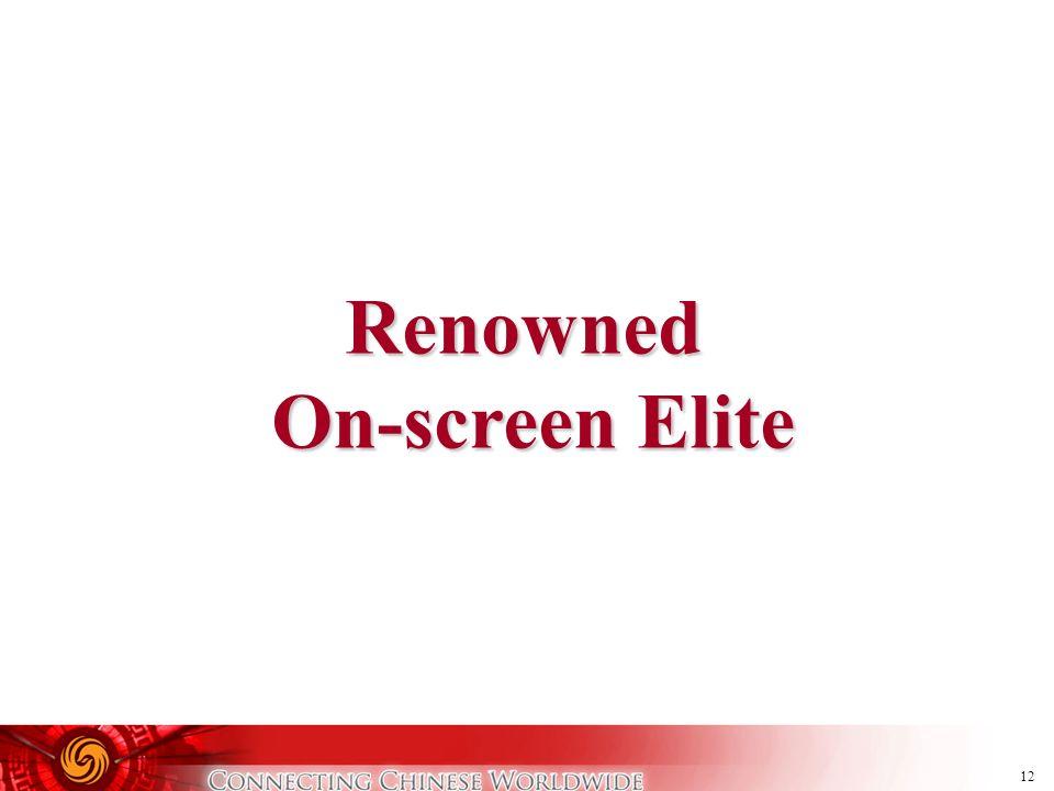 12 Renowned On-screen Elite On-screen Elite