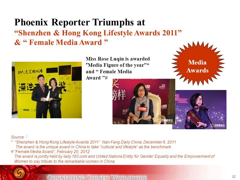 32 Phoenix Reporter Triumphs at Shenzhen & Hong Kong Lifestyle Awards 2011 & Female Media Award Miss Rose Luqiu is awardedMedia Figure of the year* an