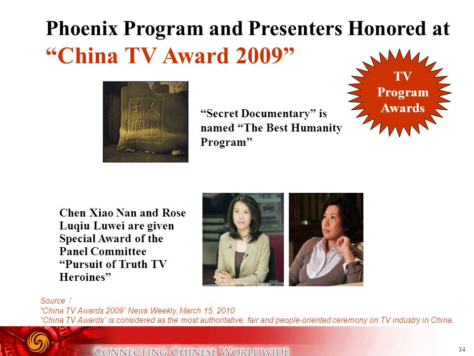 34 Phoenix Program and Presenters Honored at China TV Award 2009 Chen Xiao Nan and Rose Luqiu Luwei are given Special Award of the Panel Committee Pur