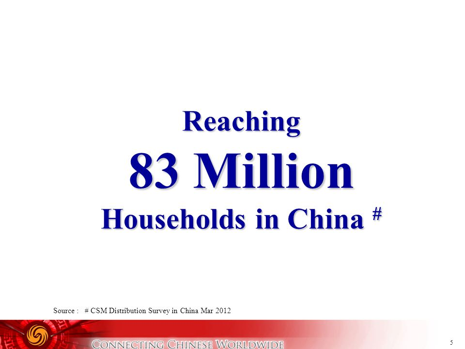 5 Reaching 83 Million Households in China # Source : # CSM Distribution Survey in China Mar 2012