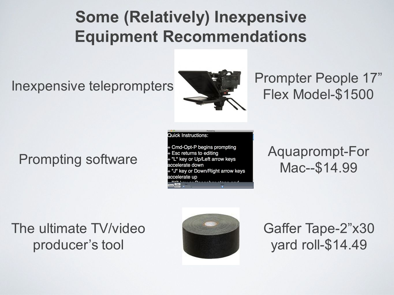 Some (Relatively) Inexpensive Equipment Recommendations Inexpensive teleprompters Prompter People 17 Flex Model-$1500 Prompting software Aquaprompt-Fo
