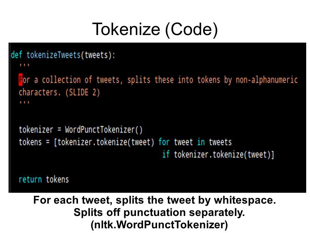 Tokenize (Code) For each tweet, splits the tweet by whitespace.