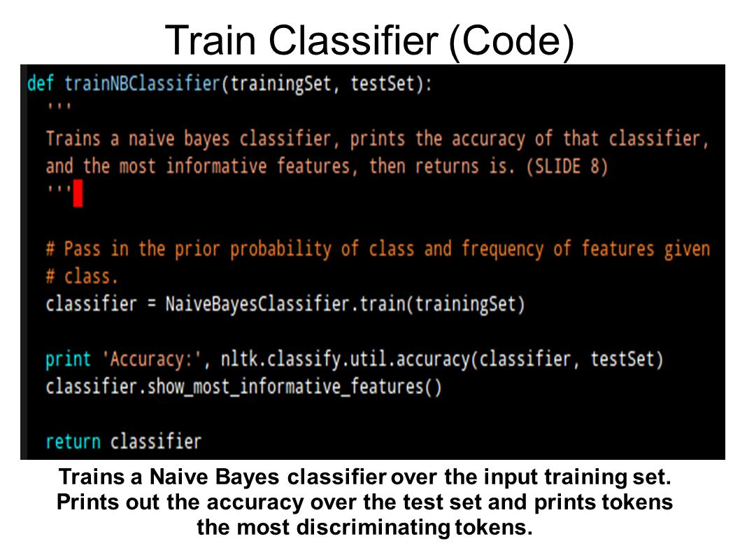 Train Classifier (Code) Trains a Naive Bayes classifier over the input training set.