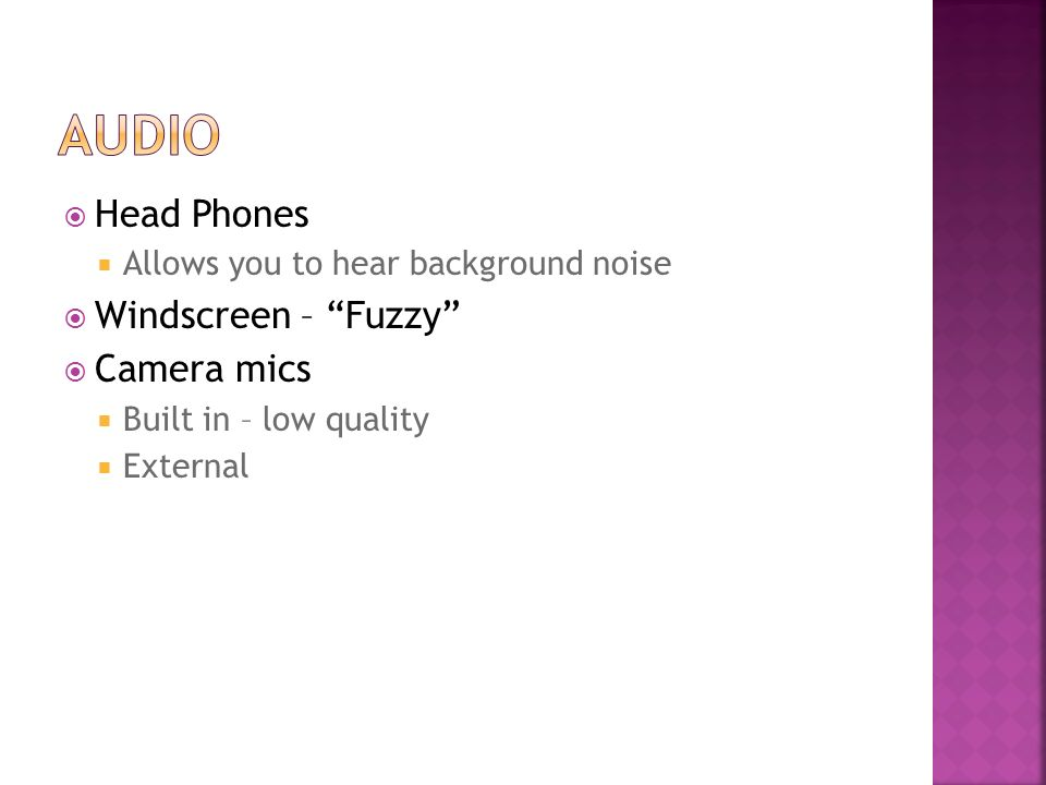 Head Phones Allows you to hear background noise Windscreen – Fuzzy Camera mics Built in – low quality External