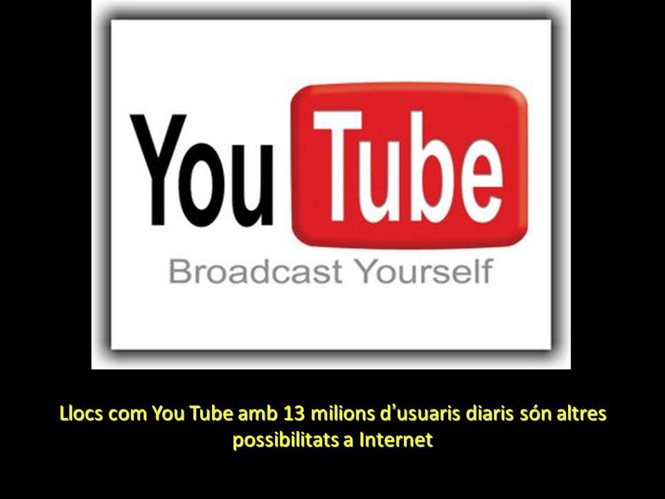 Llocs com You Tube amb 13 milions d usuaris diaris són altres possibilitats a Internet