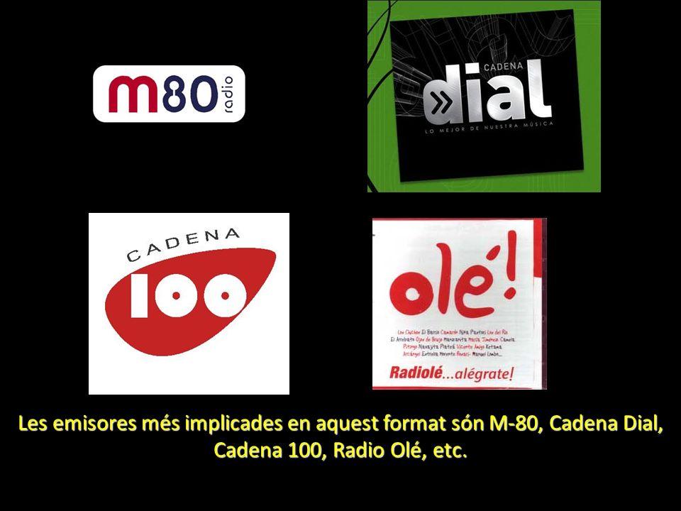 Les emisores més implicades en aquest format són M-80, Cadena Dial, Cadena 100, Radio Olé, etc.