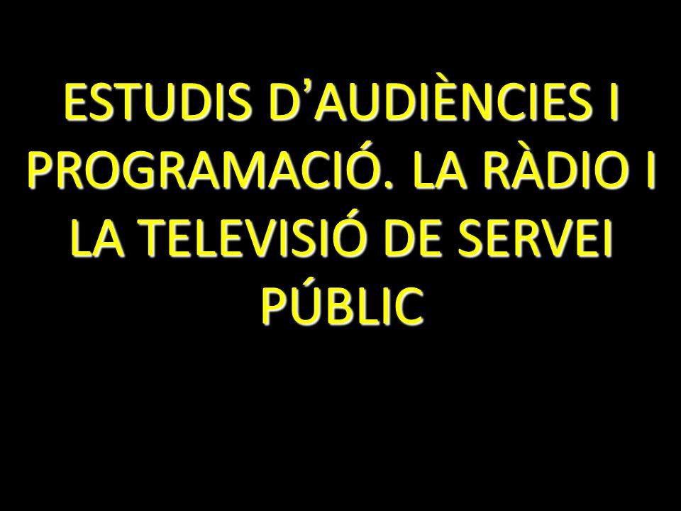 ESTUDIS D AUDIÈNCIES I PROGRAMACIÓ. LA RÀDIO I LA TELEVISIÓ DE SERVEI PÚBLIC