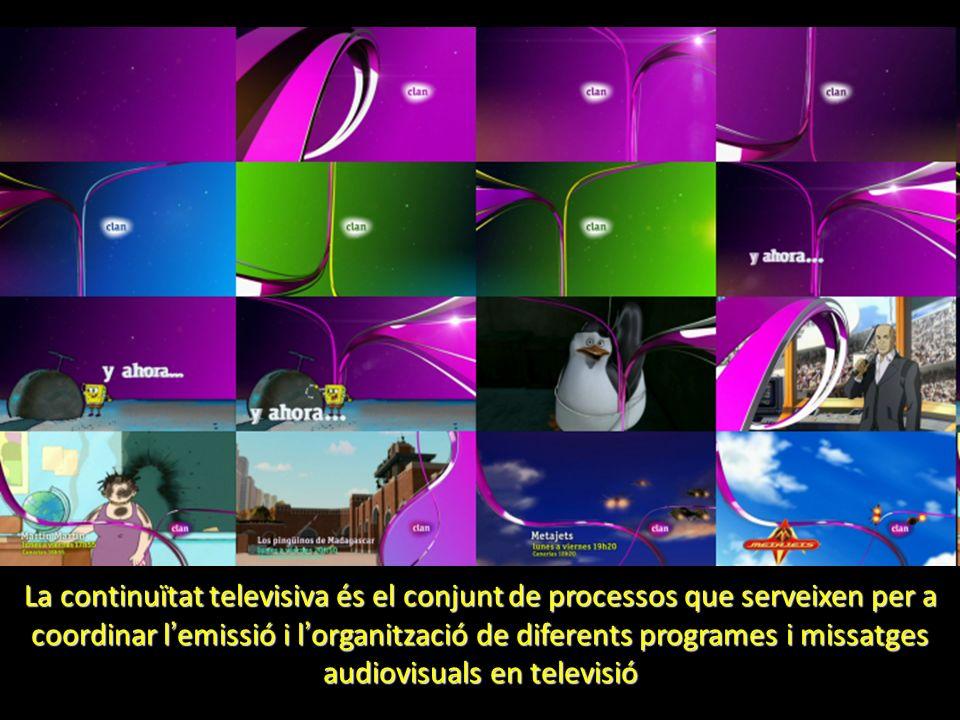 La continuïtat televisiva és el conjunt de processos que serveixen per a coordinar l emissió i l organització de diferents programes i missatges audio