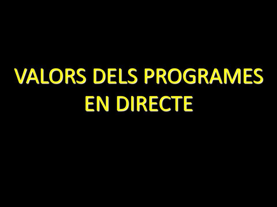 VALORS DELS PROGRAMES EN DIRECTE