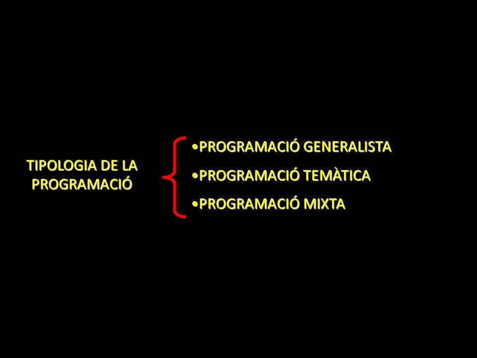 TIPOLOGIA DE LA PROGRAMACIÓ PROGRAMACIÓ GENERALISTAPROGRAMACIÓ GENERALISTA PROGRAMACIÓ TEMÀTICAPROGRAMACIÓ TEMÀTICA PROGRAMACIÓ MIXTAPROGRAMACIÓ MIXTA