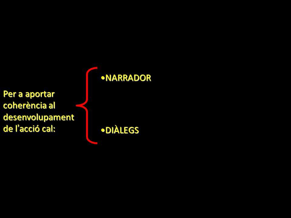 Per a aportar coherència al desenvolupament de l acció cal: NARRADORNARRADOR DIÀLEGSDIÀLEGS