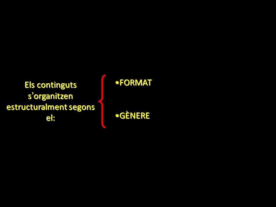 Els continguts s organitzen estructuralment segons el: FORMATFORMAT GÈNEREGÈNERE