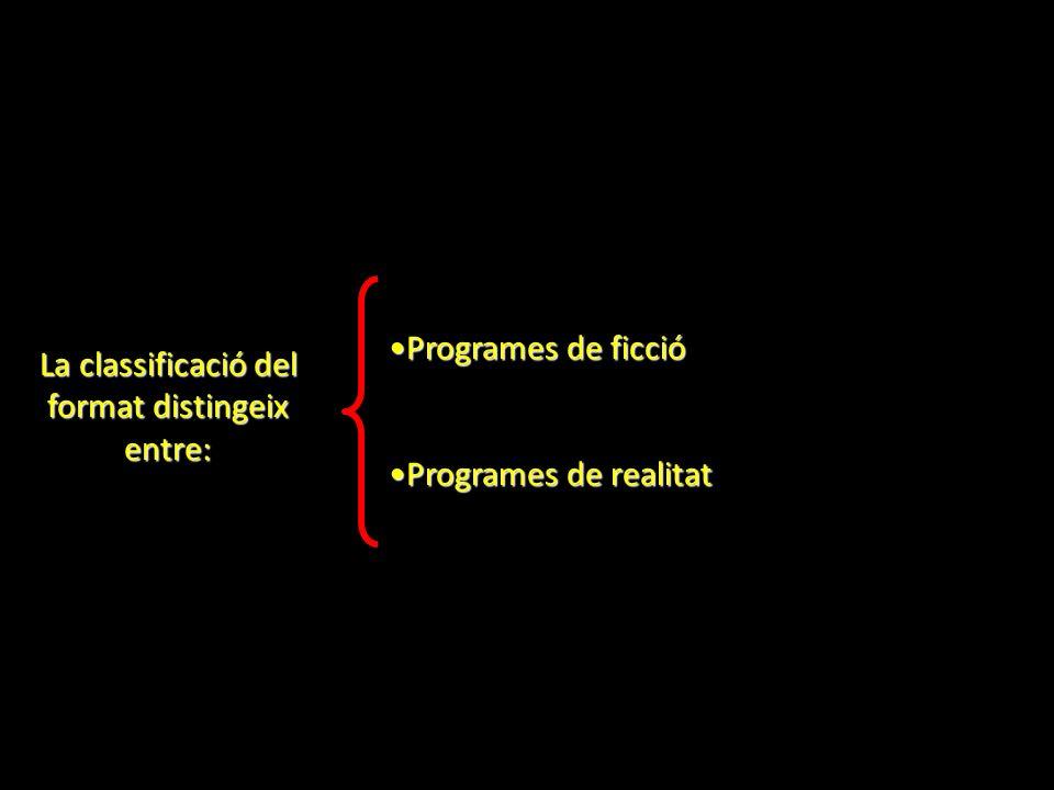 La classificació del format distingeix entre: Programes de ficcióProgrames de ficció Programes de realitatProgrames de realitat