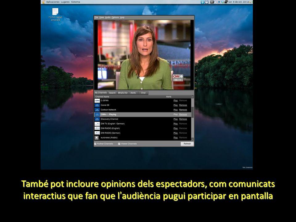 També pot incloure opinions dels espectadors, com comunicats interactius que fan que l audiència pugui participar en pantalla