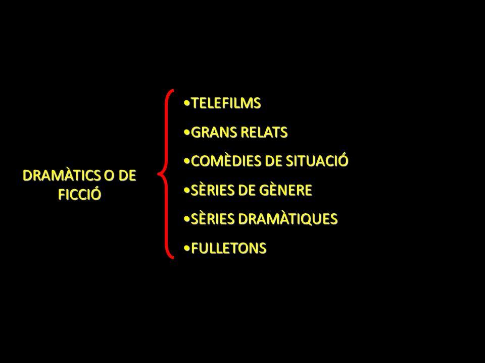 DRAMÀTICS O DE FICCIÓ TELEFILMSTELEFILMS GRANS RELATSGRANS RELATS COMÈDIES DE SITUACIÓCOMÈDIES DE SITUACIÓ SÈRIES DE GÈNERESÈRIES DE GÈNERE SÈRIES DRA