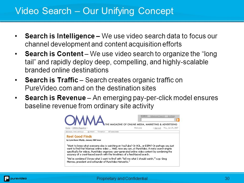 Proprietary and Confidential29 PureVideo Search Approach