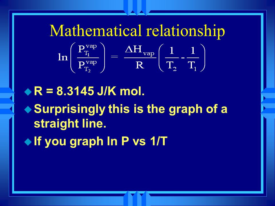 Mathematical relationship u ln is the natural logarithm ln = Log base e e = Eulers number an irrational number like H vap is the heat of vaporization