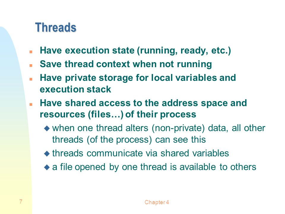 Chapter 4 18 User-Level Threads (ULT) (ex.