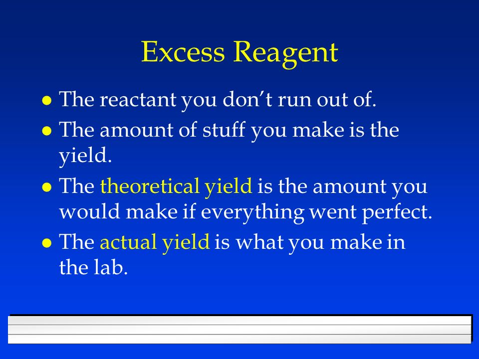 Excess Reagent l The reactant you dont run out of.