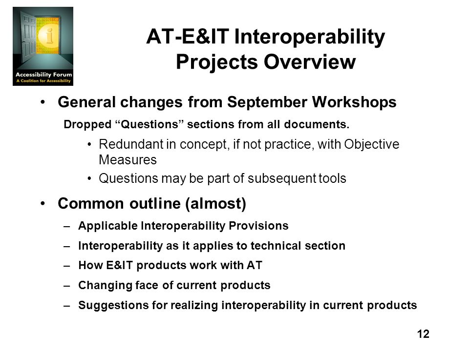 12 AT-E&IT Interoperability Projects Overview General changes from September Workshops Dropped Questions sections from all documents.