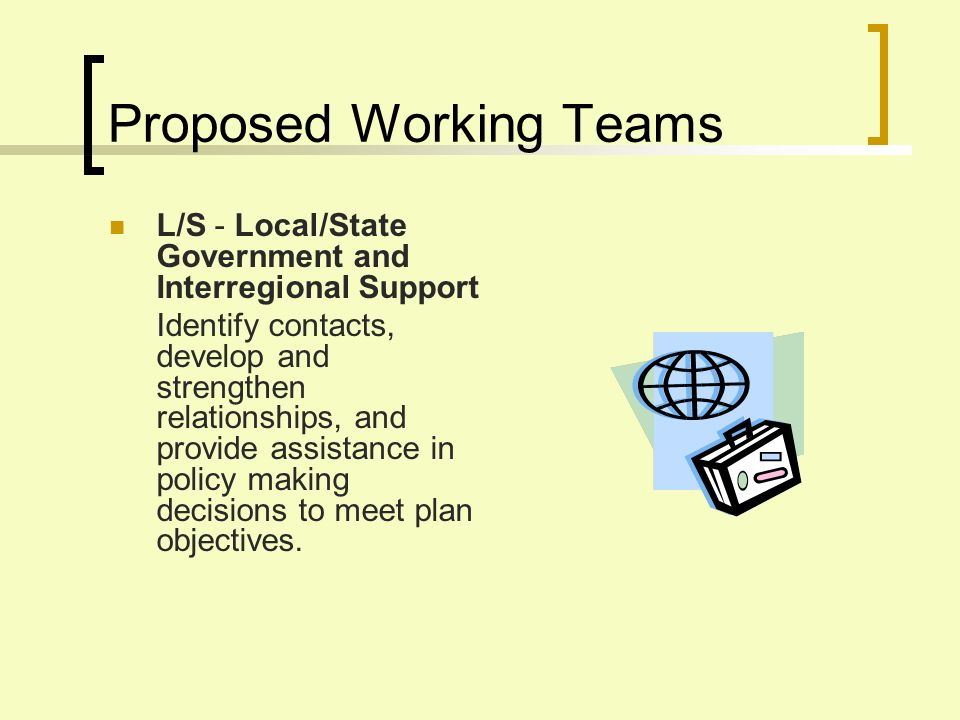 Proposed Working Teams L/S - Local/State Government and Interregional Support Identify contacts, develop and strengthen relationships, and provide assistance in policy making decisions to meet plan objectives.