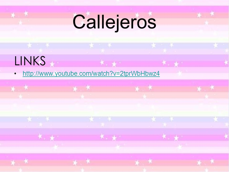 Callejeros LINKS http://www.youtube.com/watch?v=2tprWbHbwz4