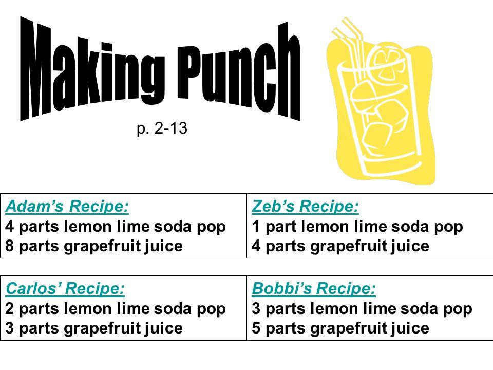 Adams Recipe: 4 parts lemon lime soda pop 8 parts grapefruit juice Carlos Recipe: 2 parts lemon lime soda pop 3 parts grapefruit juice Zebs Recipe: 1 part lemon lime soda pop 4 parts grapefruit juice Bobbis Recipe: 3 parts lemon lime soda pop 5 parts grapefruit juice