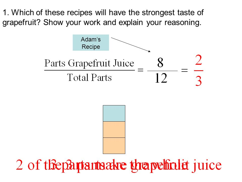 1. Which of these recipes will have the strongest taste of grapefruit? Show your work and explain your reasoning. Adams Recipe