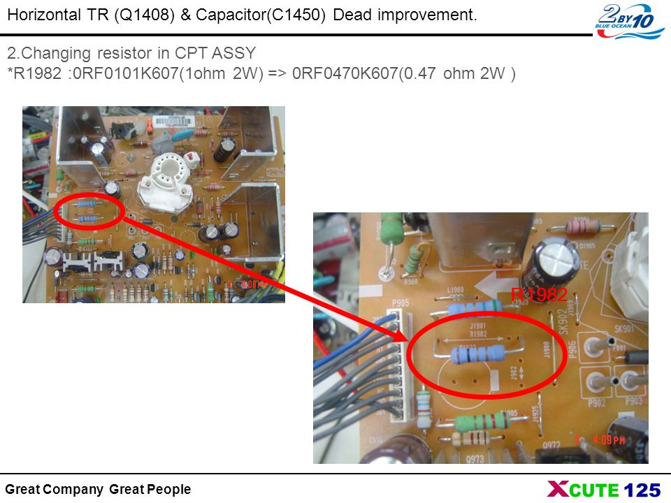 Great Company Great People Horizontal TR (Q1408) & Capacitor(C1450) Dead improvement. 2.Changing resistor in CPT ASSY *R1982 :0RF0101K607(1ohm 2W) =>
