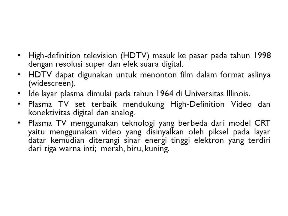 High-definition television (HDTV) masuk ke pasar pada tahun 1998 dengan resolusi super dan efek suara digital.