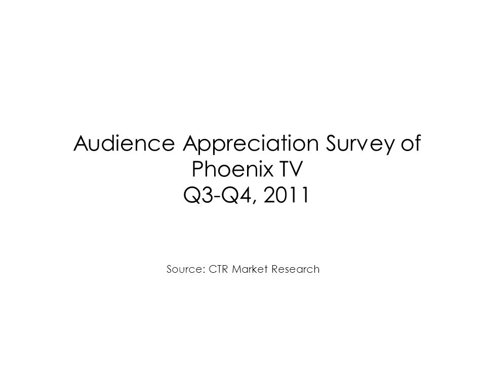 Audience Appreciation Survey of Phoenix TV Q3-Q4, 2011 Source: CTR Market Research