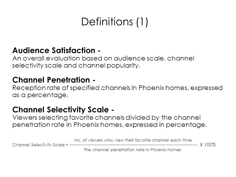 Audience Satisfaction - An overall evaluation based on audience scale, channel selectivity scale and channel popularity.