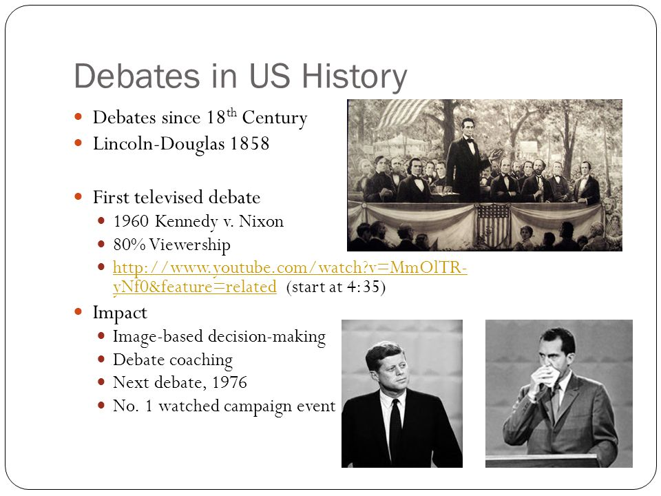 Debates in US History Debates since 18 th Century Lincoln-Douglas 1858 First televised debate 1960 Kennedy v.