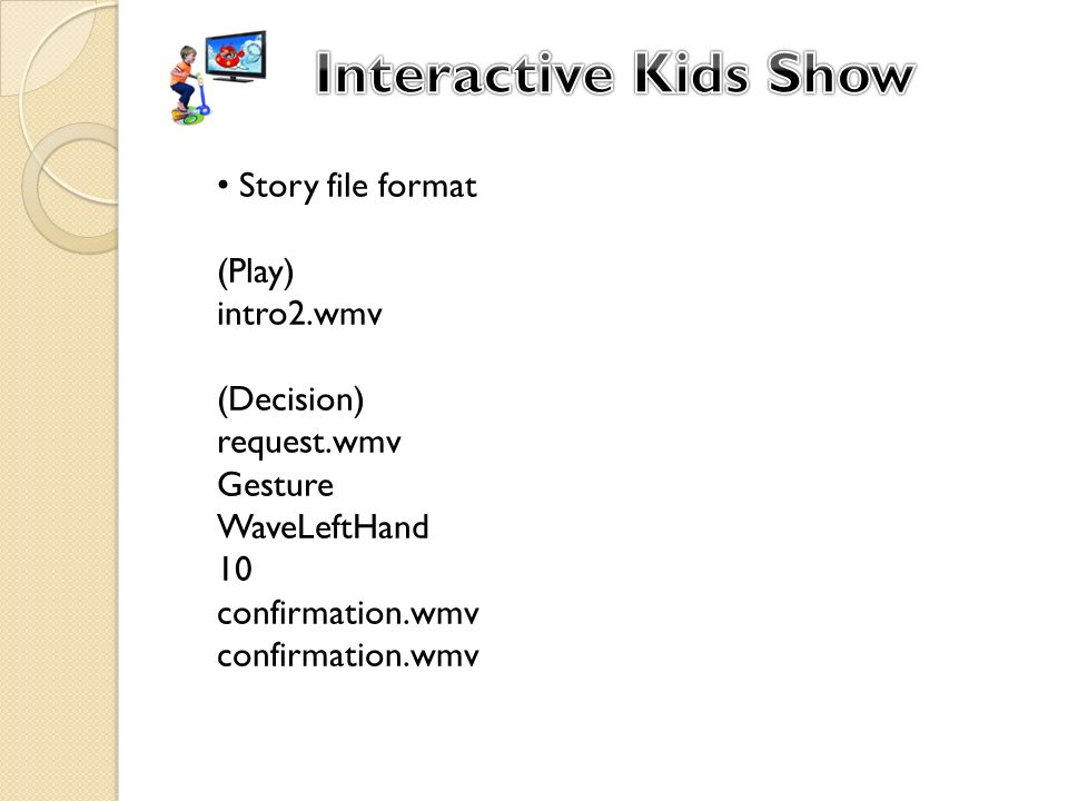 Story file format (Play) intro2.wmv (Decision) request.wmv Gesture WaveLeftHand 10 confirmation.wmv