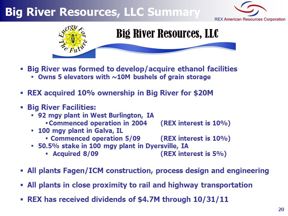 Big River Resources, LLC Summary Big River was formed to develop/acquire ethanol facilities Owns 5 elevators with ~10M bushels of grain storage REX ac