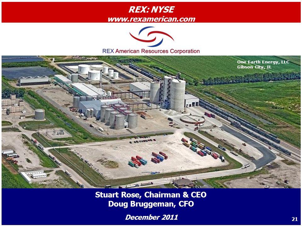 One Earth Energy, LLC Gibson City, IL Stuart Rose, Chairman & CEO Doug Bruggeman, CFO December 2011 REX: NYSE www.rexamerican.com 21