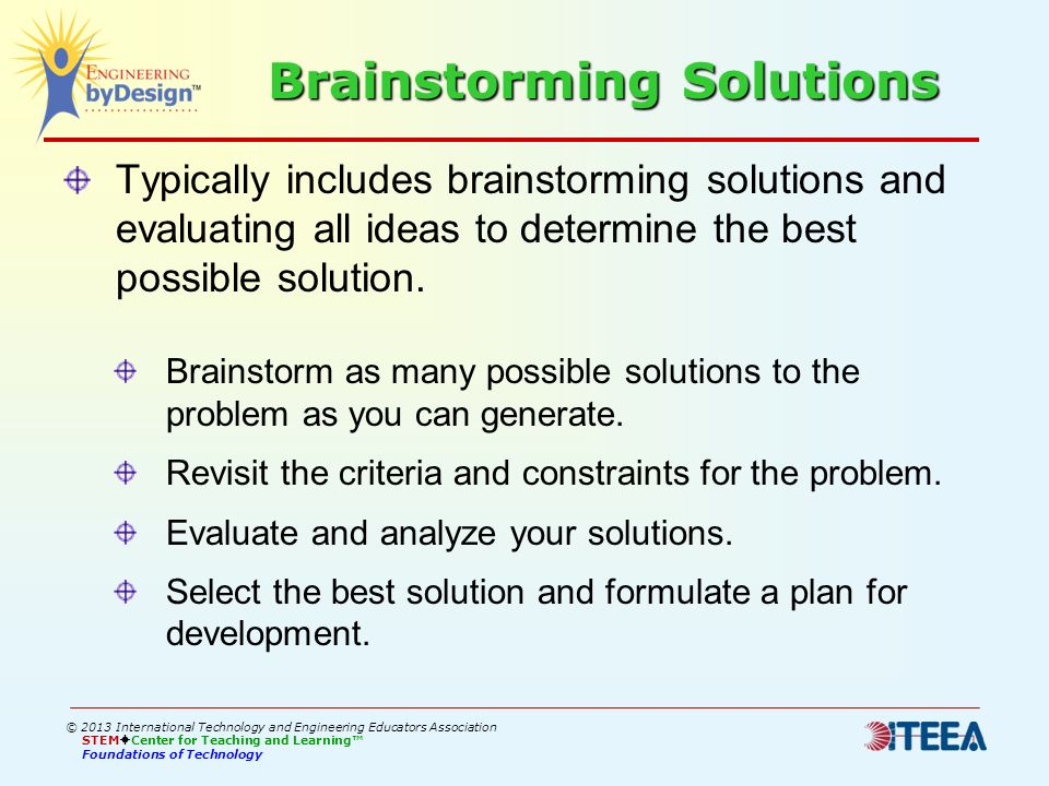Brainstorming Solutions Typically includes brainstorming solutions and evaluating all ideas to determine the best possible solution. Brainstorm as man
