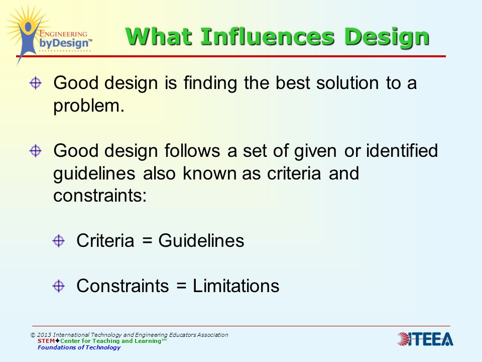 What Influences Design Good design is finding the best solution to a problem. Good design follows a set of given or identified guidelines also known a