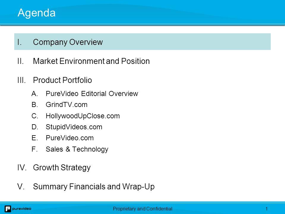 Proprietary and Confidential31 Agenda I.Company Overview II.Market Environment and Position III.Product Portfolio A.PureVideo Editorial Overview B.GrindTV.com C.HollywoodUpClose.com D.StupidVideos.com E.PureVideo.com F.Sales & Technology IV.Growth Strategy V.Summary Financials and Wrap-Up