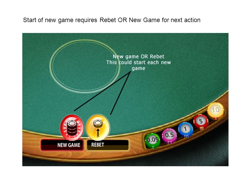 Start of new game requires Rebet OR New Game for next action