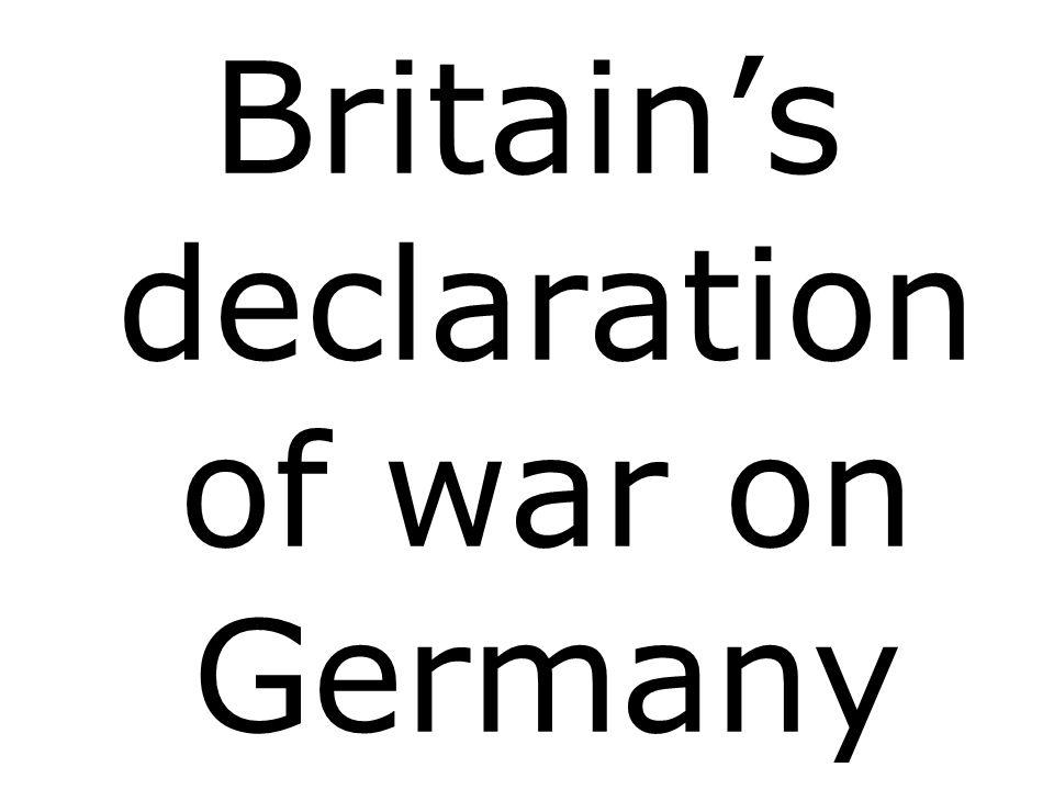 Britains declaration of war on Germany